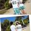 เสื้อคู่รัก ชุดคู่รักเที่ยวทะเลชาย +หญิง เสื้อยืดสีขาวลายตัวอักษร กางเกงขาสั้นลายสีเขียว +พร้อมส่ง+ thumbnail 8