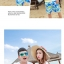 เสื้อคู่รัก ชุดคู่รักเที่ยวทะเลชาย +หญิง เสื้อยืดสีขาวลายคนนั่งมองดูนก กางเกงขาสั้นลายต้นมะพร้าว +พร้อมส่ง+ thumbnail 5