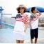 ชุดคู่ เสื้อคู่รัก ชายเสื้อยืด + หญิงเดรสจั้มเอว สีขาว แต่งลายธงชาติอเมริกา +พร้อมส่ง+ thumbnail 3