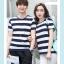 +พร้อมส่ง+ เสื้อคู่รักเกาหลี แฟชั่นคู่รัก ชายหญิง เสื้อยืดคอกลม ลายริ้วใหญ่ สีน้ำเงินสลับขาว thumbnail 4