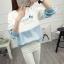 เสื้อแขนยาวแฟชั่นพร้อมส่ง เสื้อแขนยาวแต่งสีขาวสลับฟ้า แต่งสกรีนตัวอักษร +พร้อมส่ง+ thumbnail 3