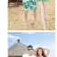 เสื้อคู่รัก ชุดคู่รักเที่ยวทะเลชาย +หญิง เสื้อยืดสีขาวลายเกาะทะเล กางเกงขาสั้นสีเขียว +พร้อมส่ง+ thumbnail 4