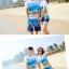 เสื้อคู่รัก ชุดคู่รักเที่ยวทะเลชาย +หญิง เสื้อยืดสีขาวลายคู่รักสวีทเที่ยวทะเล กางเกงขาสั้นลายต้นมะพร้าวโทนสีฟ้า +พร้อมส่ง+ thumbnail 6