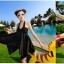 พร้อมส่ง สีดำ ชุดว่ายน้ำทรงชุดแซก สายคล้องคอ สีพื้นสวยๆ ปลายกระโปรงฟันปลา เซ็ต 2 ชิ้น thumbnail 2