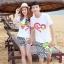 เสื้อคู่รัก ชุดคู่รักเที่ยวทะเลชาย +หญิง เสื้อยืดสีขาวลาย LO VE กางเกงขาสั้นลายเส้น +พร้อมส่ง+ thumbnail 1