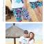 เสื้อคู่รัก ชุดคู่รักเที่ยวทะเลชาย +หญิง เสื้อยืดสีขาวลายเกาะทะเล กางเกงขาสั้นโทนสีฟ้าสลับชมพู+พร้อมส่ง+ thumbnail 7