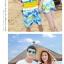 เสื้อคู่รัก ชุดคู่รักเที่ยวทะเลชาย +หญิง เสื้อยืดสีขาวลายคนนั่งมองดูนก กางเกงขาสั้นลายต้นมะพร้าว +พร้อมส่ง+ thumbnail 7