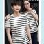 +พร้อมส่ง+ เสื้อคู่รักเกาหลี แฟชั่นคู่รัก ชายหญิง เสื้อยืดคอกลม ลายริ้ว สีดำสลับขาว thumbnail 4