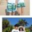 เสื้อคู่รัก ชุดคู่รักเที่ยวทะเลชาย +หญิง เสื้อยืดสีขาวลายตัวอักษร กางเกงขาสั้นลายสีเขียว +พร้อมส่ง+ thumbnail 3