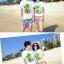 เสื้อคู่รัก ชุดคู่รักเที่ยวทะเลชาย +หญิง เสื้อยืดสีขาวลายต้นมะพร้าว กางเกงขาสั้นลายไทยโทนสีส้ม +พร้อมส่ง+ thumbnail 4