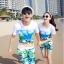 เสื้อคู่รัก ชุดคู่รักเที่ยวทะเลชาย +หญิง เสื้อยืดสีขาวลายคู่รักสวีทเที่ยวทะเล กางเกงขาสั้นสีเขียว +พร้อมส่ง+ thumbnail 2