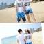 เสื้อคู่รัก ชุดคู่รักเที่ยวทะเลชาย +หญิง เสื้อยืดสีขาวลายตัวอักษร กางเกงขาสั้นลายต้นมะพร้าวโทนสีฟ้า +พร้อมส่ง+ thumbnail 3