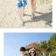 เสื้อคู่รัก ชุดคู่รักเที่ยวทะเลชาย +หญิง เสื้อยืดสีขาวลายแว่นตา กางเกงขาสั้นลายแฉกโทนสีฟ้า +พร้อมส่ง+ thumbnail 5
