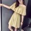 เสื้อผ้าแฟชั่นสไตส์เกาหลี เดรสสายเดี่ยว สีเหลือง แต่งจั้มอก จั้มเอว +พร้อมส่ง+ thumbnail 1