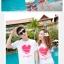 เสื้อคู่รัก ชุดคู่รักเที่ยวทะเลชาย +หญิง เสื้อยืดสีขาวลายหัวใจ กางเกงขาสั้นลายแถบสี โทนสีรุ้ง +พร้อมส่ง+ thumbnail 3