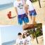 เสื้อคู่รัก ชุดคู่รักเที่ยวทะเลชาย +หญิง เสื้อยืดสีขาวลายแว่นตา กางเกงขาสั้นลายมะพร้าวโทนสีฟ้า +พร้อมส่ง+ thumbnail 5
