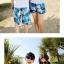 เสื้อคู่รัก ชุดคู่รักเที่ยวทะเลชาย +หญิง เสื้อยืดสีขาวลายคู่รักสวีทพระอาทิพย์ตกดิน กางเกงขาสั้นลายแฉกโทนสีฟ้า +พร้อมส่ง+ thumbnail 5