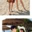 เสื้อคู่รัก ชุดคู่รักเที่ยวทะเลชาย +หญิง เสื้อยืดสีขาวลายต้นมะพร้าวลอยน้ำ กางเกงขาสั้นลายพระอาทิตย์โทนสีส้ม +พร้อมส่ง+ thumbnail 4