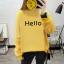 เสื้อแขนยาวแฟชั่นพร้อมส่ง เสื้อแขนยาวสีเหลือง แต่งสกรีนตัวอักษร Hello +พร้อมส่ง+ thumbnail 1