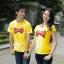 เสื้อยืดคู่รัก แฟชั่นคู่รัก ชาย + หญิง เสื้อยืดแขนสั้น แต่งสกรีนลายลูกศรสีแดง Love เสื้อสีเหลือง +พร้อมส่ง+ thumbnail 2