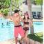 พร้อมส่ง ชุดว่ายน้ำเอวสูง สีดำลายสก็อตชมพูสวยๆ thumbnail 9
