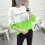 เสื้อแขนยาวแฟชั่นพร้อมส่ง เสื้อแขนยาวแต่งสีขาวสลับเขียว แต่งสกรีนตัวอักษร +พร้อมส่ง+ thumbnail 2