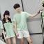 เสื้อคู่รัก ชายเสื้อยืดคอกลม + เสื้อตัวยาว สีเขียว แต่งลายริ้วเขียวขาว +พร้อมส่ง+ thumbnail 2