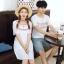 เสื้อคู่รัก แฟชั่นคู่รัก ชายเสื้อยืดคอกลม + เดรสคอกลม สีขาว แต่งลายไทย +พร้อมส่ง thumbnail 12