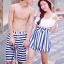 PRE ชุดว่ายน้ำคู่รัก วันพีซทรงแซก บราไหล่ปาด แต่งระบายน่ารัก ตัดต่อกระโปรงลายทาง thumbnail 4