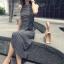 เสื้อผ้าแฟชั่นสไตส์เกาหลี เดรสยาวแขนกุด ลายริ้วสีดำขาว +พร้อมส่ง+ thumbnail 7
