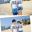 เสื้อคู่รัก ชุดคู่รักเที่ยวทะเลชาย +หญิง เสื้อยืดสีขาวลายตัวอักษร กางเกงขาสั้นลายต้นมะพร้าวโทนสีฟ้า +พร้อมส่ง+ thumbnail 2