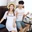 เสื้อคู่รัก แฟชั่นคู่รัก ชายเสื้อยืดคอกลม + เดรสคอกลม สีขาว แต่งลายไทย +พร้อมส่ง thumbnail 5