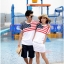 ชุดคู่ เสื้อคู่รัก ชายเสื้อยืด + หญิงเดรสจั้มเอว สีขาว แต่งลายธงชาติอเมริกา +พร้อมส่ง+ thumbnail 4