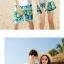 เสื้อคู่รัก ชุดคู่รักเที่ยวทะเลชาย +หญิง เสื้อยืดสีขาวคู่รักนอนอาบแดด กางเกงขาสั้นสีเขียว +พร้อมส่ง+ thumbnail 5