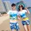 เสื้อคู่รัก ชุดคู่รักเที่ยวทะเลชาย +หญิง เสื้อยืดสีขาวลายคู่รักสวีทเที่ยวทะเล กางเกงขาสั้นลายแฉกโทนสีฟ้า +พร้อมส่ง+ thumbnail 1