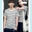 +พร้อมส่ง+ เสื้อคู่รักเกาหลี แฟชั่นคู่รัก ชายหญิง เสื้อยืดคอกลม ลายริ้ว สีดำสลับขาว thumbnail 3
