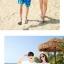 เสื้อคู่รัก ชุดคู่รักเที่ยวทะเลชาย +หญิง เสื้อยืดสีขาวลายแว่นตา กางเกงขาสั้นลายมะพร้าวโทนสีฟ้า +พร้อมส่ง+ thumbnail 4
