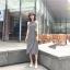 เสื้อผ้าแฟชั่นสไตส์เกาหลี เดรสยาวแขนกุด ลายริ้วสีดำขาว +พร้อมส่ง+ thumbnail 9