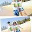 เสื้อคู่รัก ชุดคู่รักเที่ยวทะเลชาย +หญิง เสื้อยืดสีขาวลายต้นมะพร้าว กางเกงขาสั้นลายแฉกโทนสีฟ้า +พร้อมส่ง+ thumbnail 4