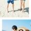 เสื้อคู่รัก ชุดคู่รักเที่ยวทะเลชาย +หญิง เสื้อยืดสีขาวลายสวีทริมทะเล กางเกงขาสั้นลายต้นมะพร้าวโทนสีฟ้า +พร้อมส่ง+ thumbnail 7