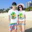 เสื้อคู่รัก ชุดคู่รักเที่ยวทะเลชาย +หญิง เสื้อยืดสีขาวลายต้นมะพร้าว กางเกงขาสั้นลายไทยโทนสีส้ม +พร้อมส่ง+ thumbnail 1