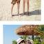 เสื้อคู่รัก ชุดคู่รักเที่ยวทะเลชาย +หญิง เสื้อยืดสีขาวลายคู่รักนอนตากแดด กางเกงขาสั้นลายพระอาทิตย์โทนสีส้ม +พร้อมส่ง+ thumbnail 3