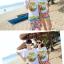 เสื้อคู่รัก ชุดคู่รักเที่ยวทะเลชาย +หญิง เสื้อยืดสีขาวลายต้นมะพร้าวลอยน้ำ กางเกงขาสั้นลายไทยโทนสีส้ม +พร้อมส่ง+ thumbnail 4