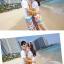เสื้อคู่รัก ชุดคู่รักเที่ยวทะเลชาย +หญิง เสื้อยืดสีขาวลายคู่รักขับรถเที่ยวชายหาด กางเกงขาสั้นลายไทยโทนสีส้ม +พร้อมส่ง+ thumbnail 4