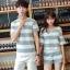 เสื้อคู่รัก ชายเสื้อแขนสั้น + หญิงเสื้อแขนสั้น พร้อมกางเกงขาสั้น แต่งลายเทาขาว +พร้อมส่ง+ thumbnail 3