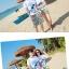 เสื้อคู่รัก ชุดคู่รักเที่ยวทะเลชาย +หญิง เสื้อยืดสีขาวลายสวีทริมทะเล กางเกงขาสั้นลายเส้น +พร้อมส่ง+ thumbnail 2