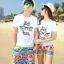เสื้อคู่รัก ชุดคู่รักเที่ยวทะเลชาย +หญิง เสื้อยืดสีขาวลายแว่นตา กางเกงขาสั้นลายไทยโทนสีส้ม +พร้อมส่ง+ thumbnail 1