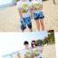 เสื้อคู่รัก ชุดคู่รักเที่ยวทะเลชาย +หญิง เสื้อยืดสีขาวลายต้นมะพร้าวลอยน้ำ กางเกงขาสั้นลายแฉกโทนสีฟ้า +พร้อมส่ง+ thumbnail 4