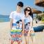 เสื้อคู่รัก ชุดคู่รักเที่ยวทะเลชาย +หญิง เสื้อยืดสีขาวลายสวีทริมทะเล กางเกงขาสั้นลายไทยโทนสีส้ม +พร้อมส่ง+ thumbnail 1