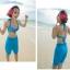 พร้อมส่ง ชุดว่ายน้ำเซ็ต 3 ชิ้น แต่งลายสวย โทนสีฟ้า พร้อมกางสั้นผ้าซีทรู thumbnail 3